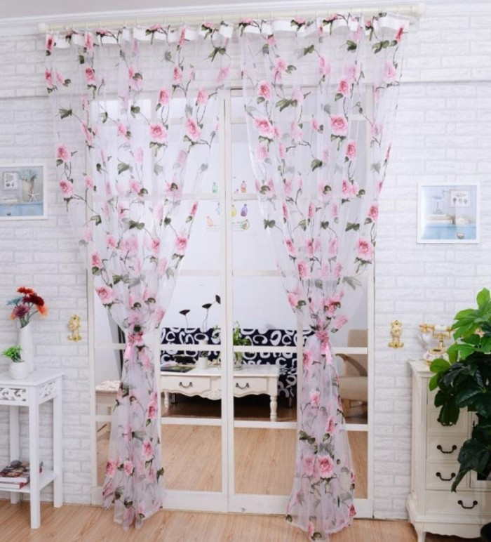 Brilliant Peony Tulle Window Screens