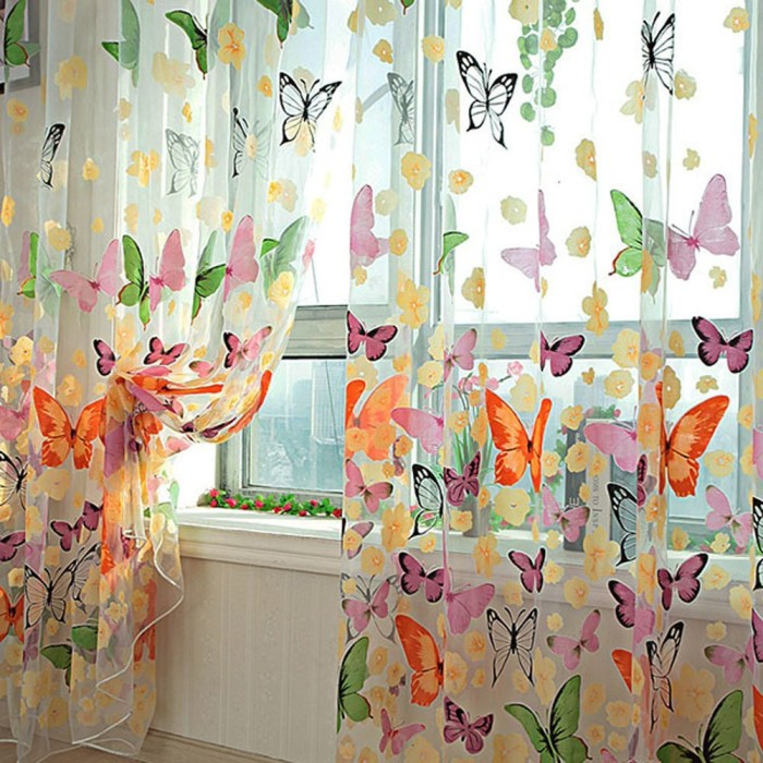 Butterfly Print Curtain Panel