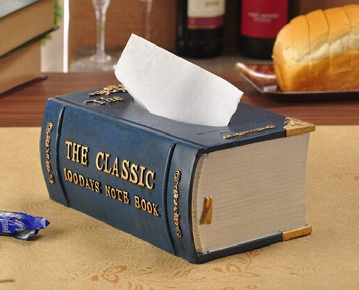Elegant Antique Book Tissue Box Cover