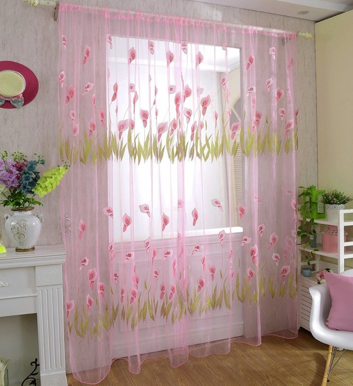 Floral Print Tulle Voile Door Curtain