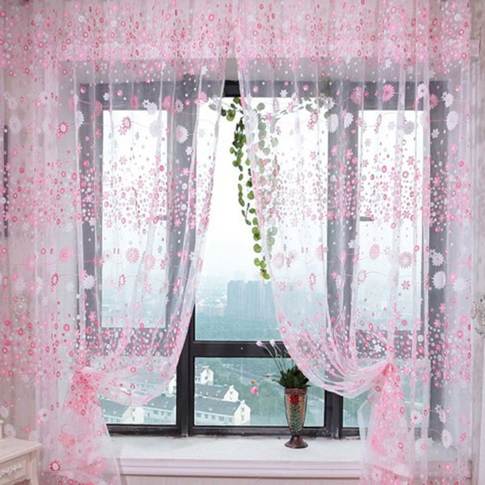 Floral Sheer Curtain Drape Panel