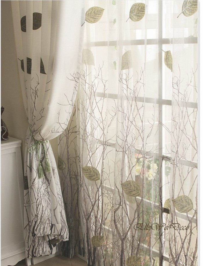 Green Leaf Tree Branch Window Curtain