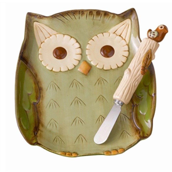 Hollow Owl Plate and Bird Spreader