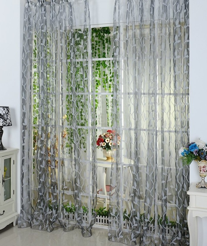 Leaf Pattern Voile Window Curtain
