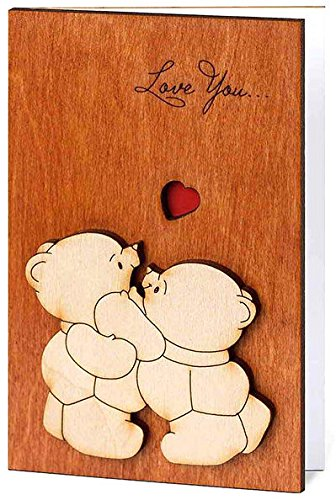 Love You Teddy Bears Real Wood Card