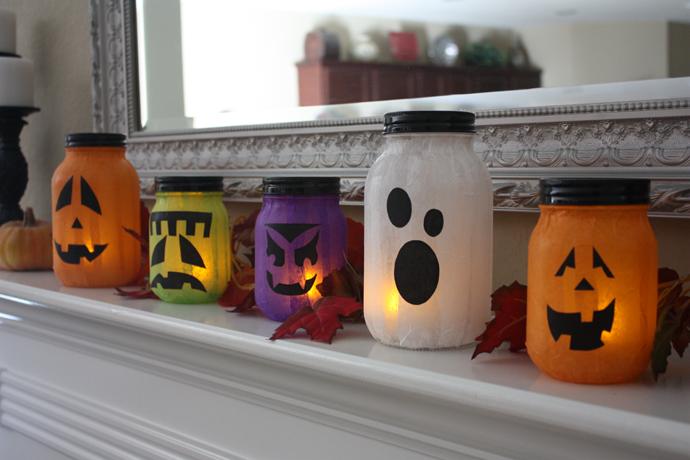 Mason Jar Jack-o-lanterns