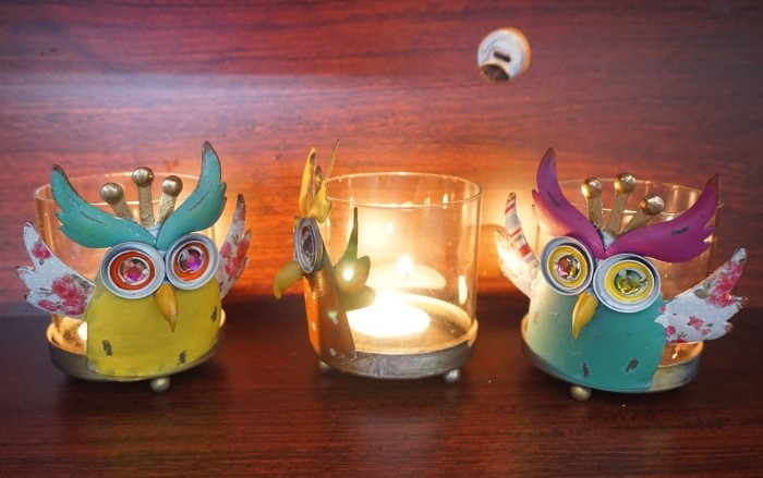 Metal Owl Tealight Holder