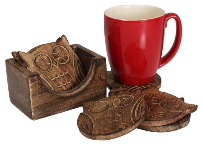 Owl Shaped Coasters with Holder Hand Carved