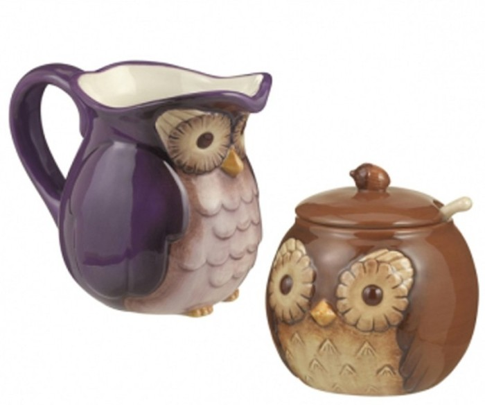 Owl Sugar Bowl and Creamer Set
