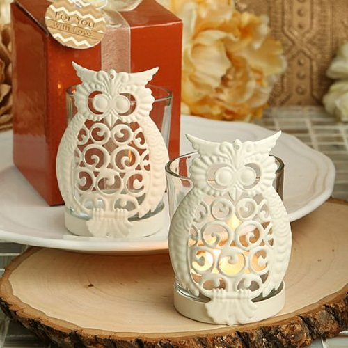 Owl design metal & glass candleholders