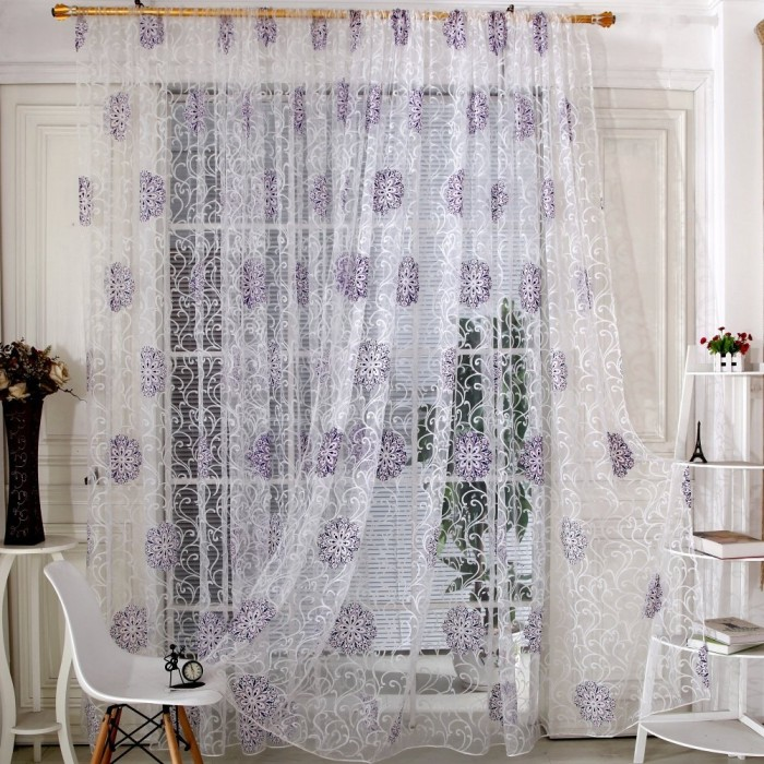 Purple Floral Room Curtain
