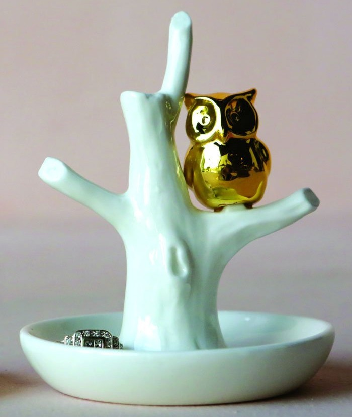 Ring Holder with Gold Owl