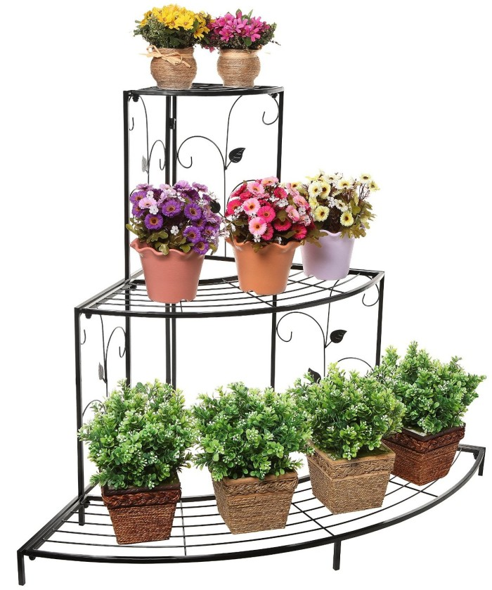 Step Style 3 Tier Corner Shelf Planter