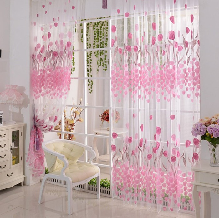 Tulip Flower Voile Curtain