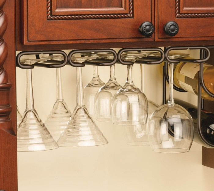 Under Cabinet Quad Wine Glass Holder