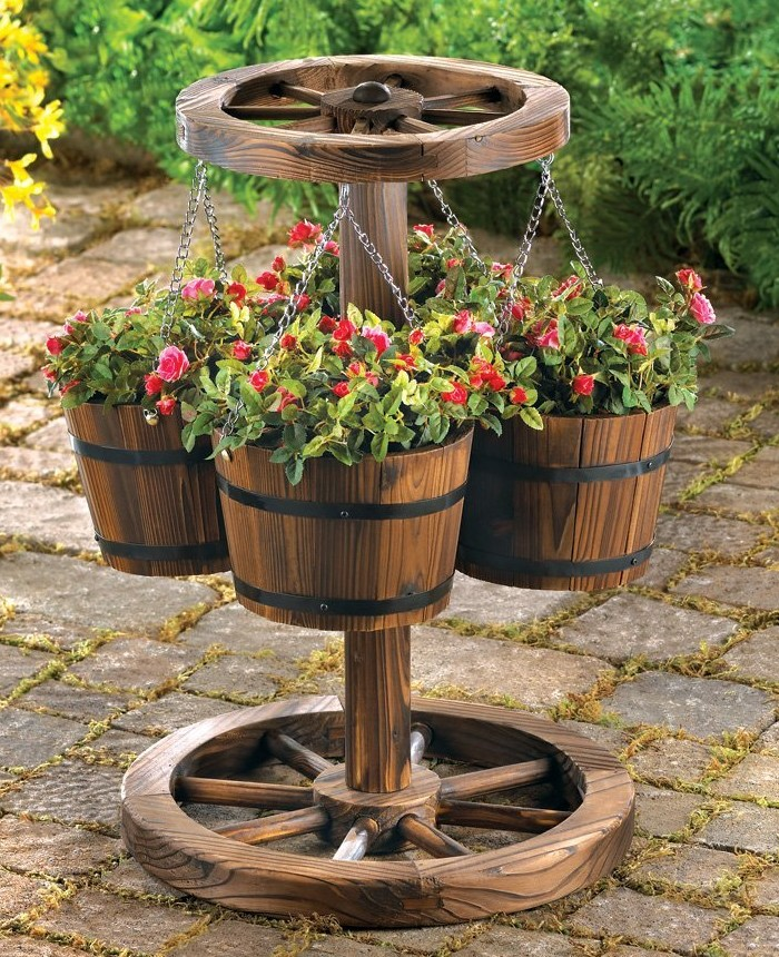 Wheel Themed Planter with Buckets