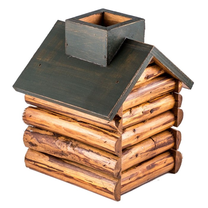 Wood Cabin Tissue Box Holder
