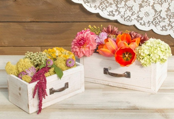 Wood Drawer Planter Boxes