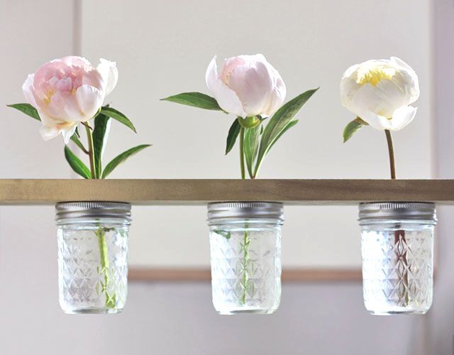 Mason Jar Flower Shelf