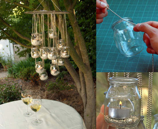 Baby Food Jar Recycled Chandelier
