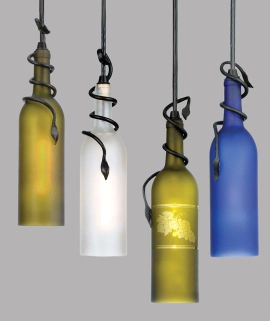 DIY Wine Bottle Hanging Lamps