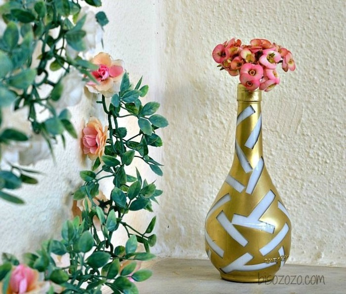 Gold and White Chic Vase
