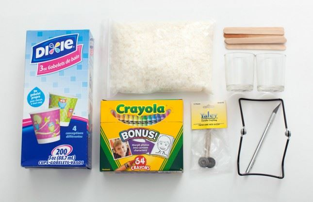 Material Required to make Crayon Candles