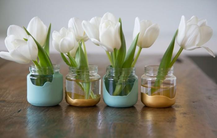Paint Dipped Baby Food Jar Vases