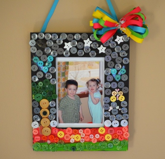 Button Mosaic Picture Frame
