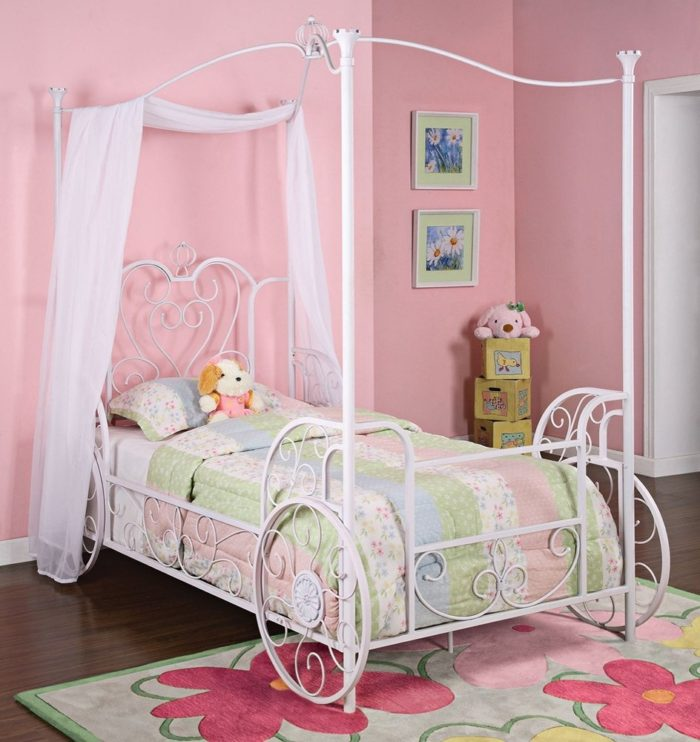 Carriage Twin Metal Canopy Bed