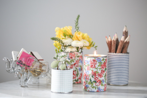 Fabric Wrapped Tin Cans