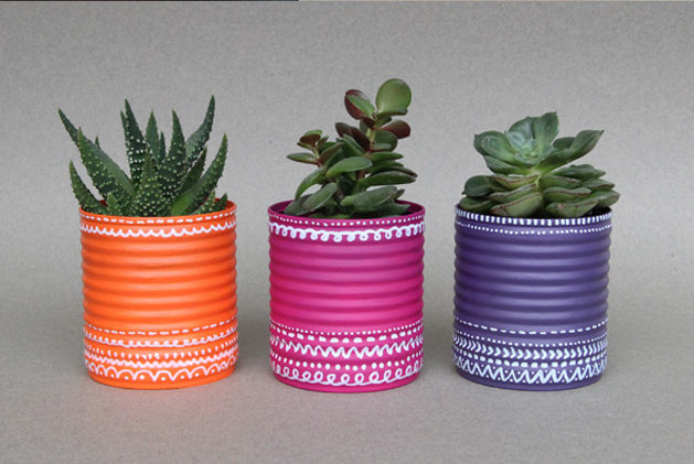 Recycling Cans in Flowerpots