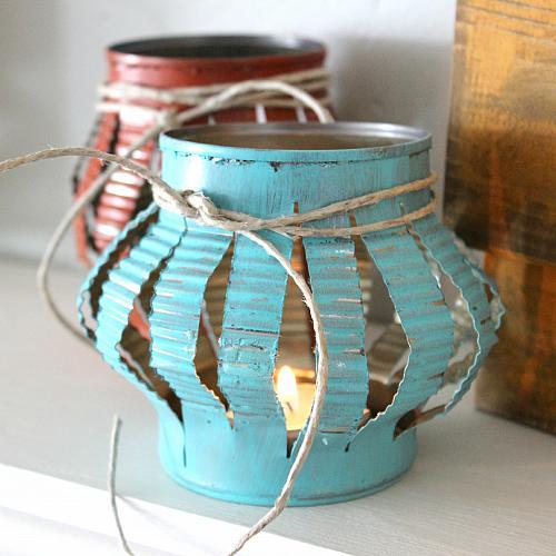 Rustic Tin Can Tea Lights