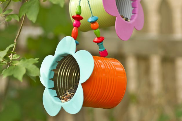 Tin Can Flower Bird Feeder