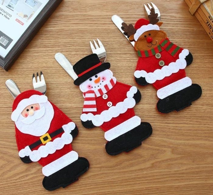 Adorable Christmas Silverware Holders Home Designing