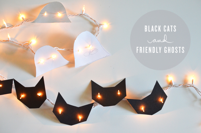 Black Cats and Friendly Ghosts String Lights