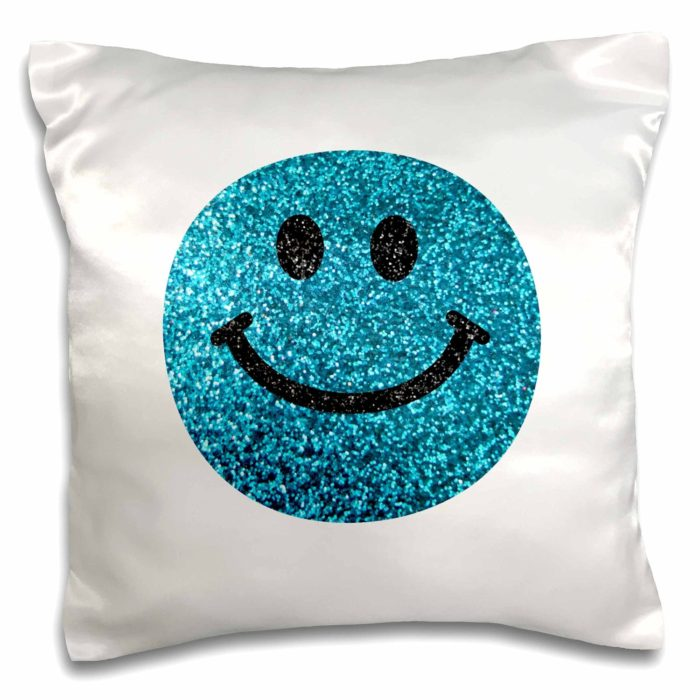 Blue Smiley Face Glitter Pillow