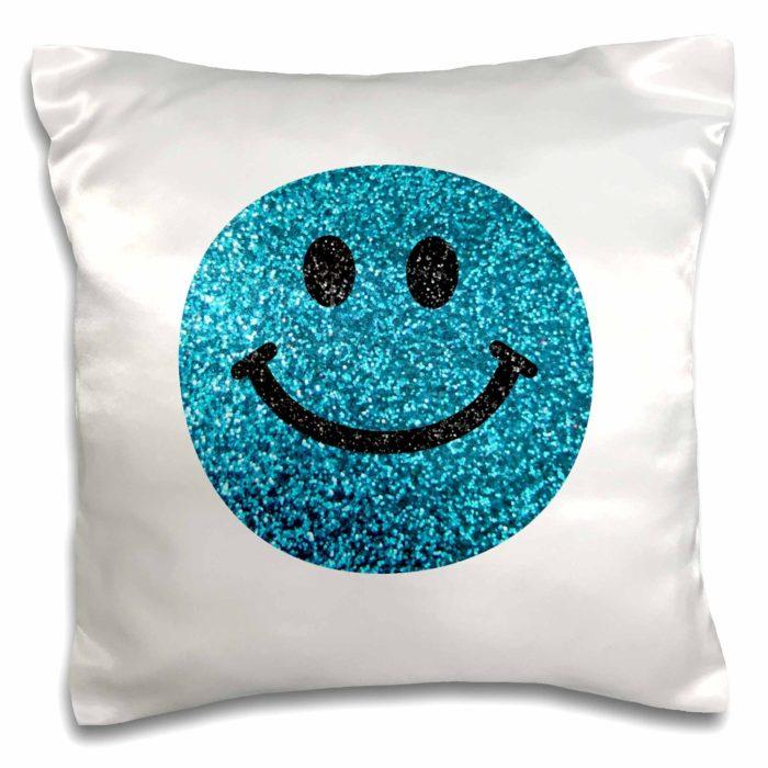 Blue Smiley Face Glitter Pillow
