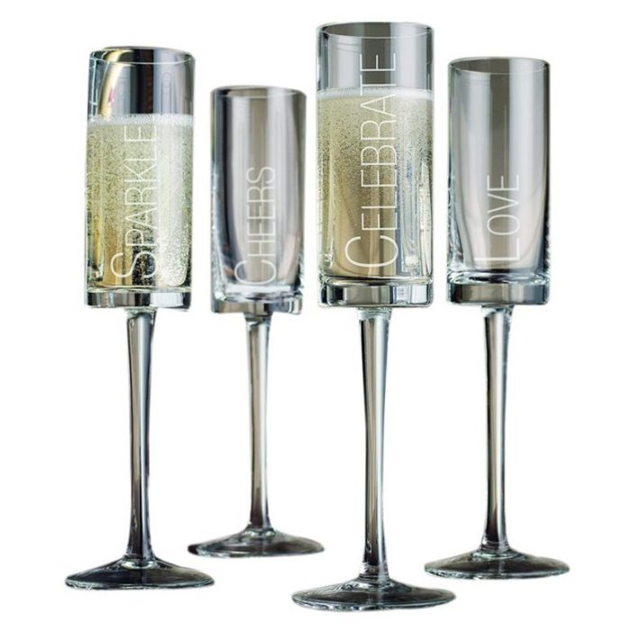 Etched Flute Wine Glasses