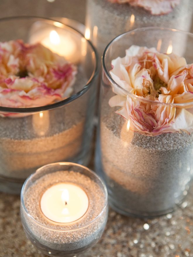 Flower and Sand Centerpieces