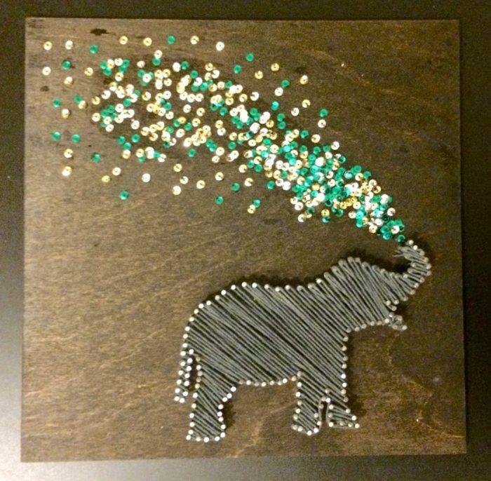 Glitter Elephant Art