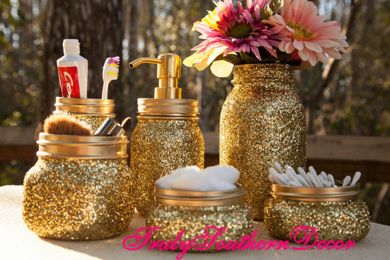 Gold Glitter Bathroom Set