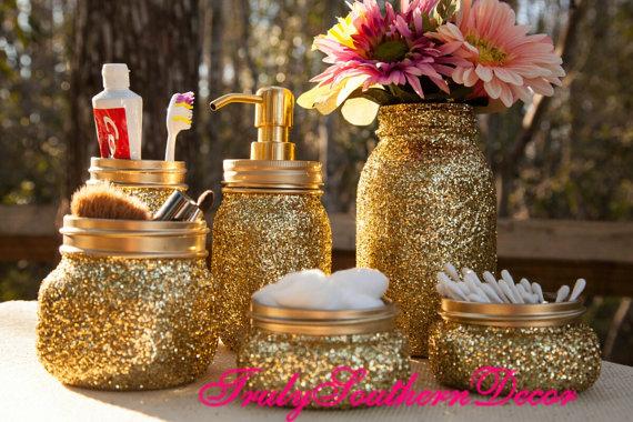 Gold Glitter Bathroom Set