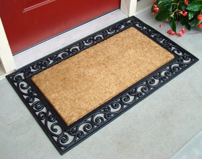 Inlaid Scroll Coco Doormat