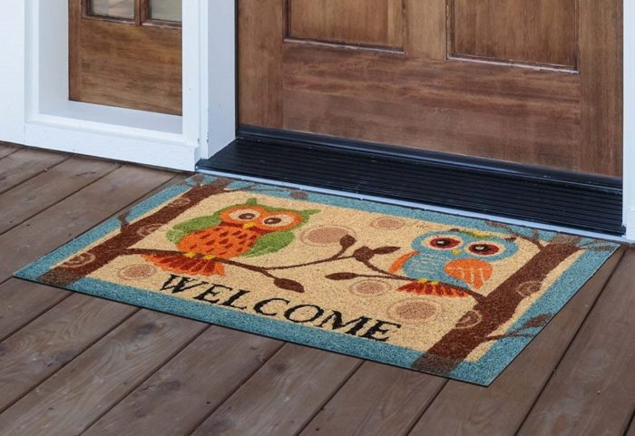 Owl Printed Coir Outdoor Entrance