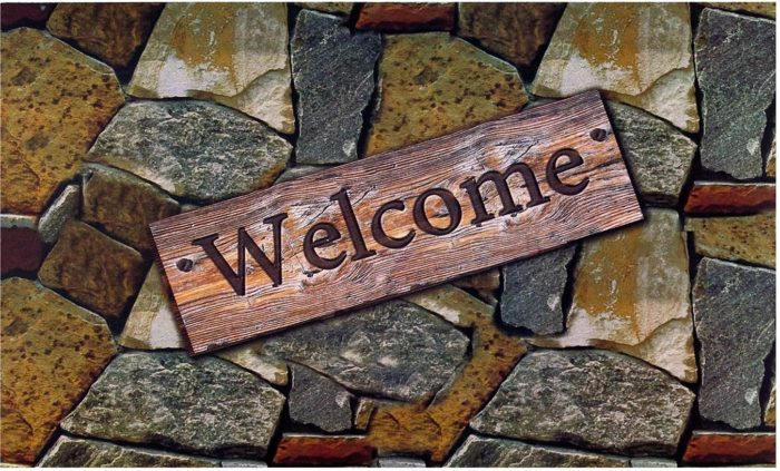 Welcome Quarry Stones Outdoor Mat