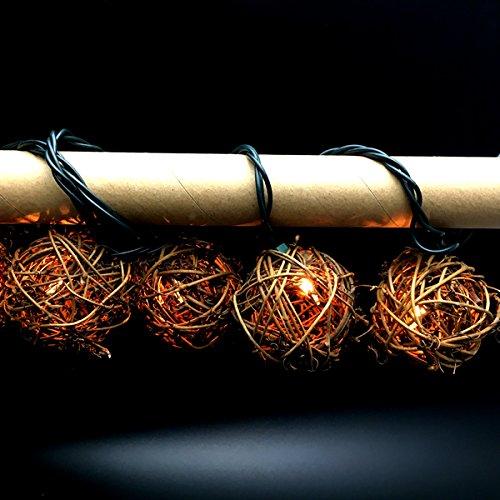 Brown Rattan Ball String Lights