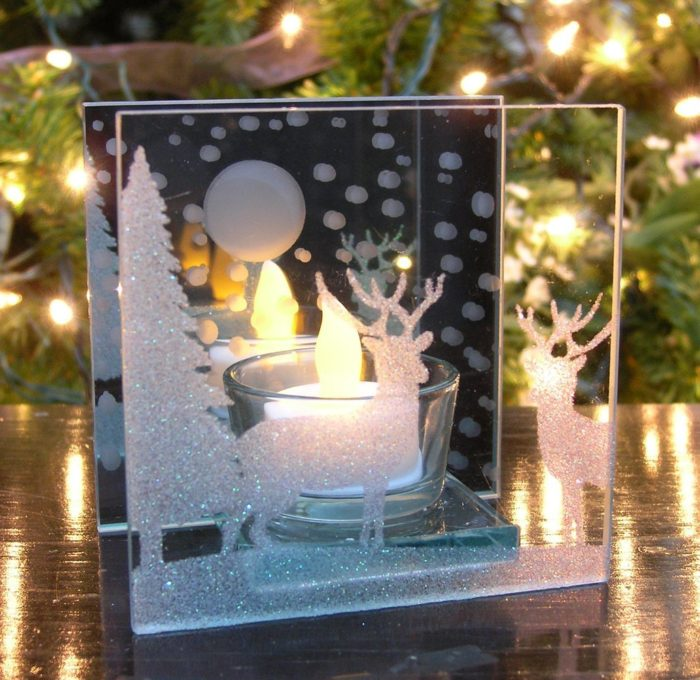 Candle Holder with Deer Silouette