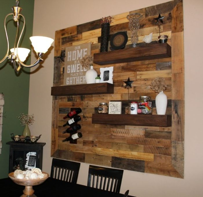 Floating Shelves Pallet Wall