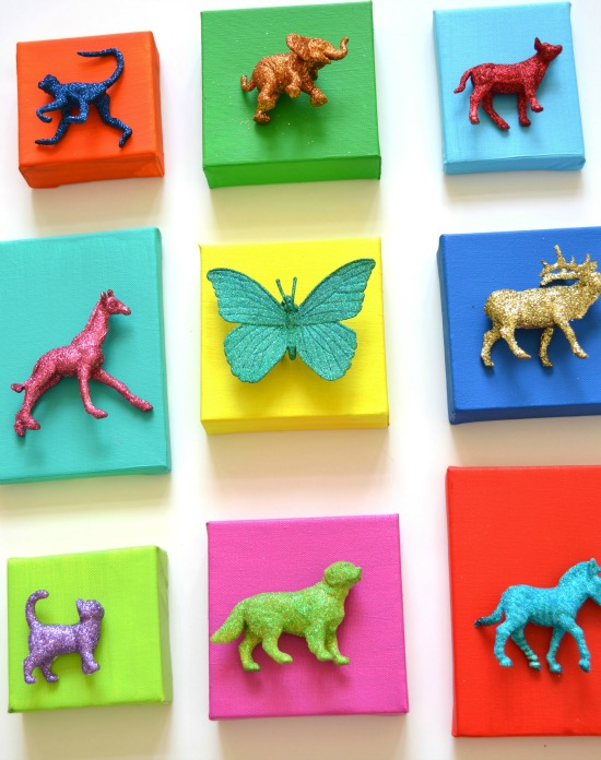 Glitter Animal Canvases